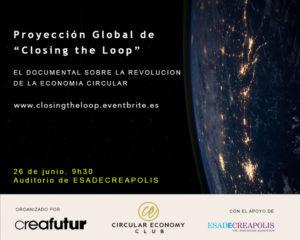 Proyección del Documental Closing the Loop . Barcelona.